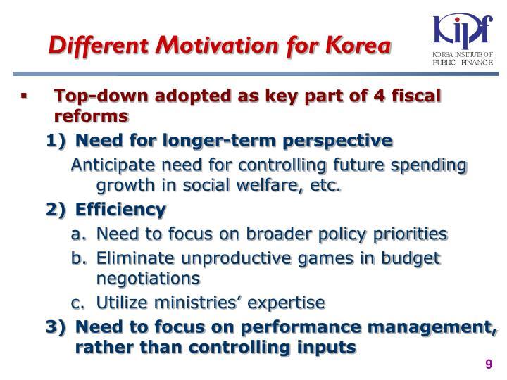 Different Motivation for Korea