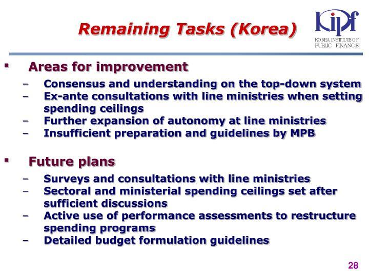 Remaining Tasks (Korea)