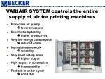 variair system controls the entire supply of air for printing machines