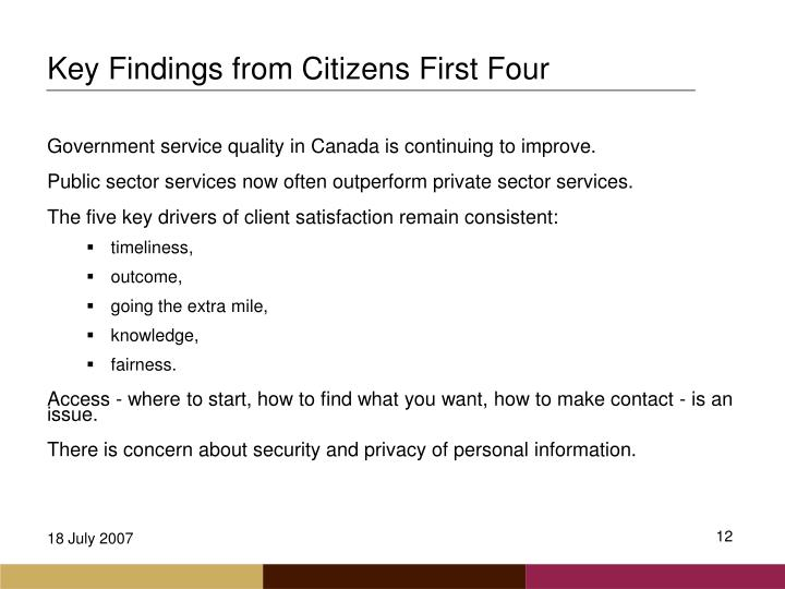 Key Findings from Citizens First Four