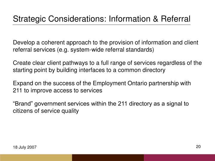 Strategic Considerations: Information & Referral