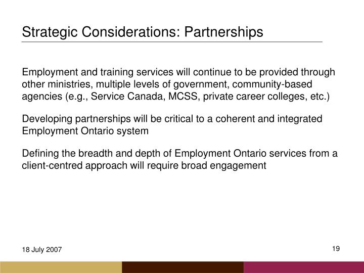 Strategic Considerations: Partnerships
