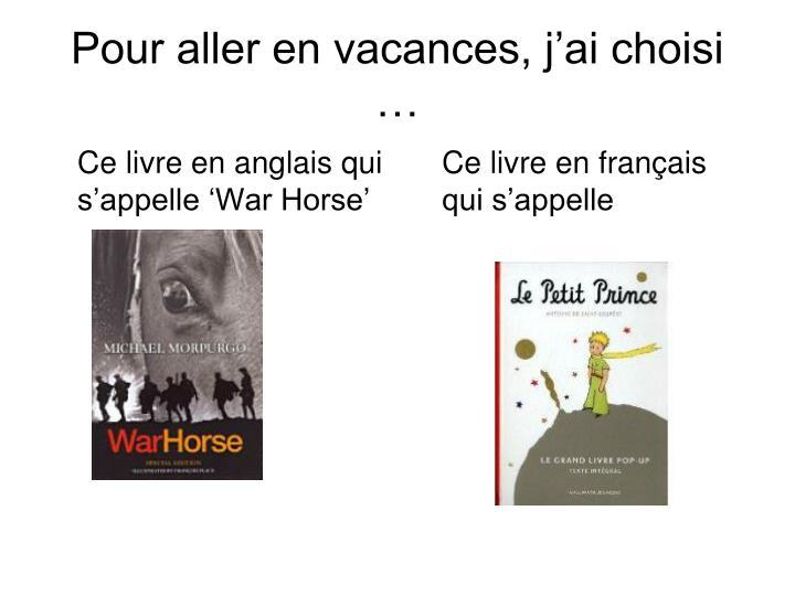 Ce livre en anglais qui s'appelle 'War Horse'