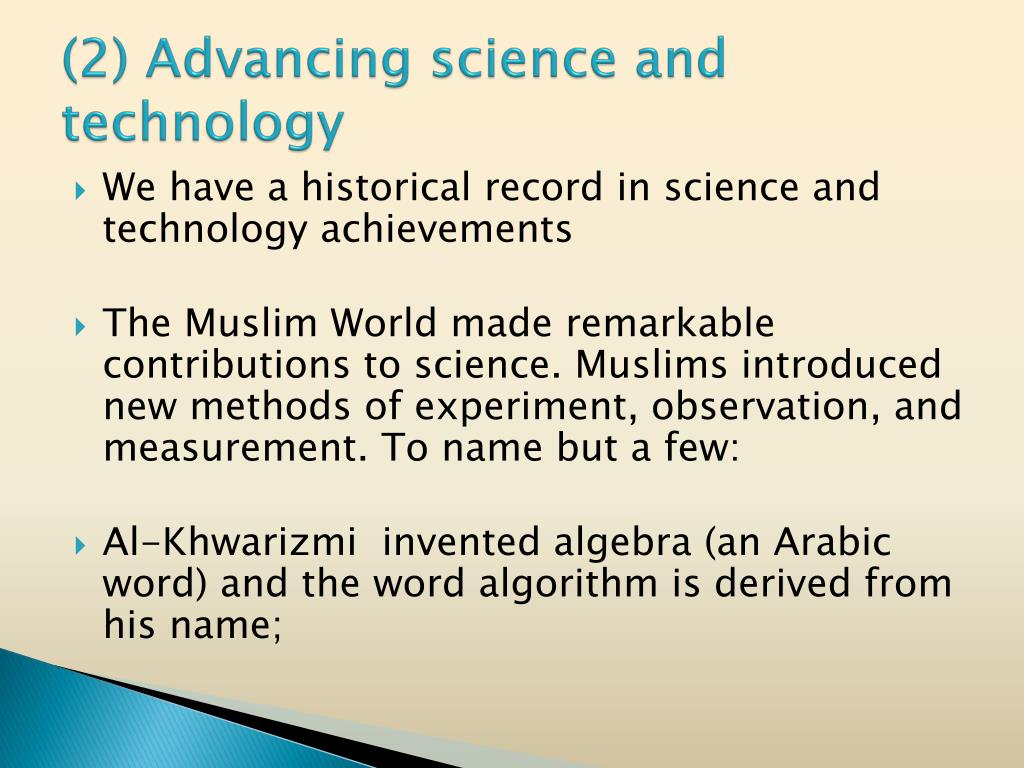 (2) Advancing science and technology