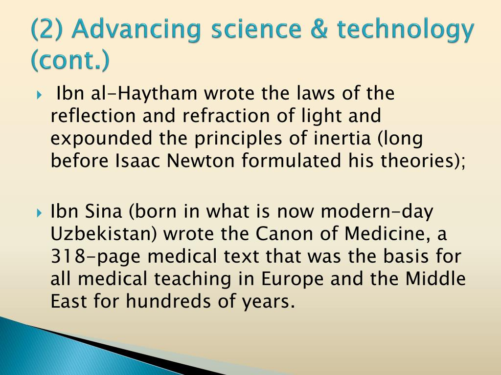 (2) Advancing science & technology