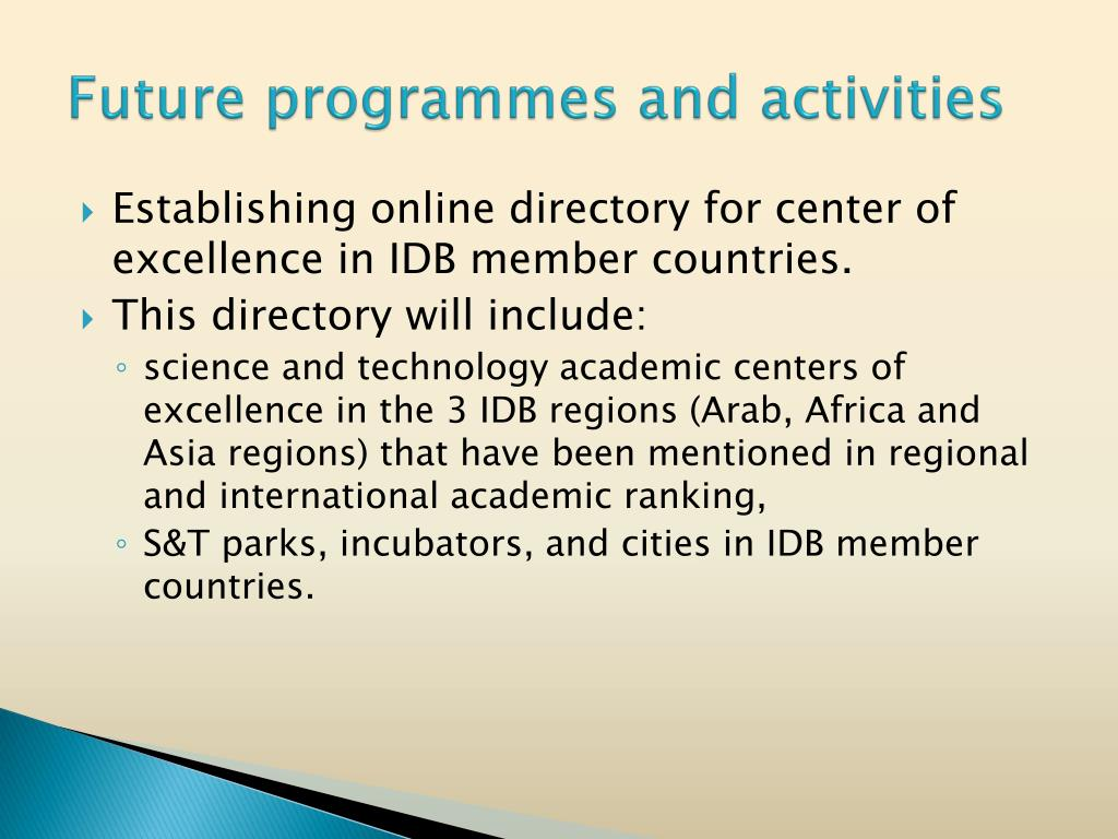 Future programmes and activities