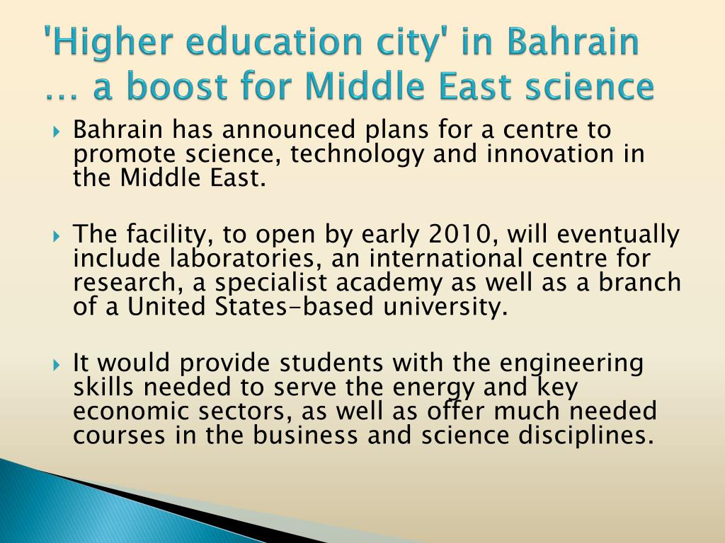 'Higher education city' in Bahrain … a boost for Middle East science