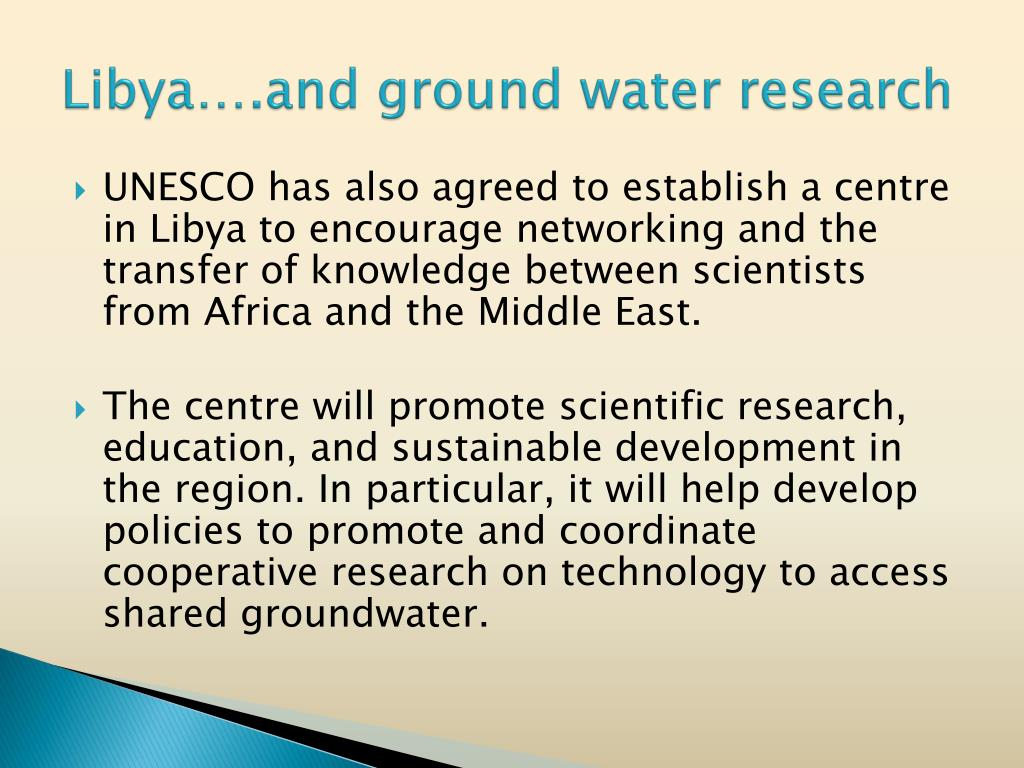 Libya….and ground water research