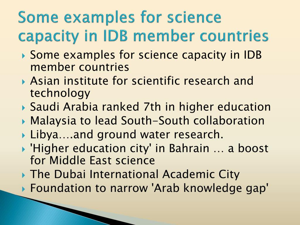 Some examples for science capacity in IDB member countries