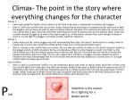 climax the point in the story where everything changes for the character