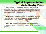 typical implementation activities by year
