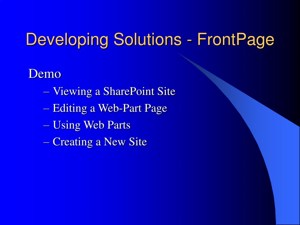 Developing Solutions - FrontPage