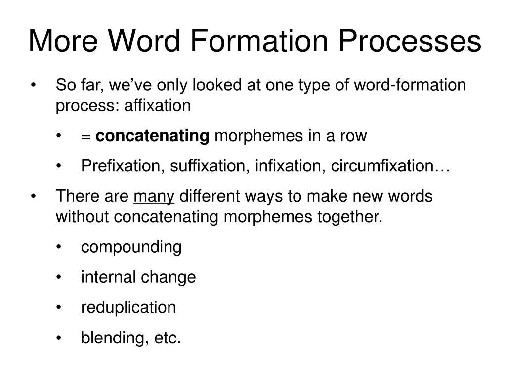 PPT - Morphology, Part 3: Word-Formation Processes