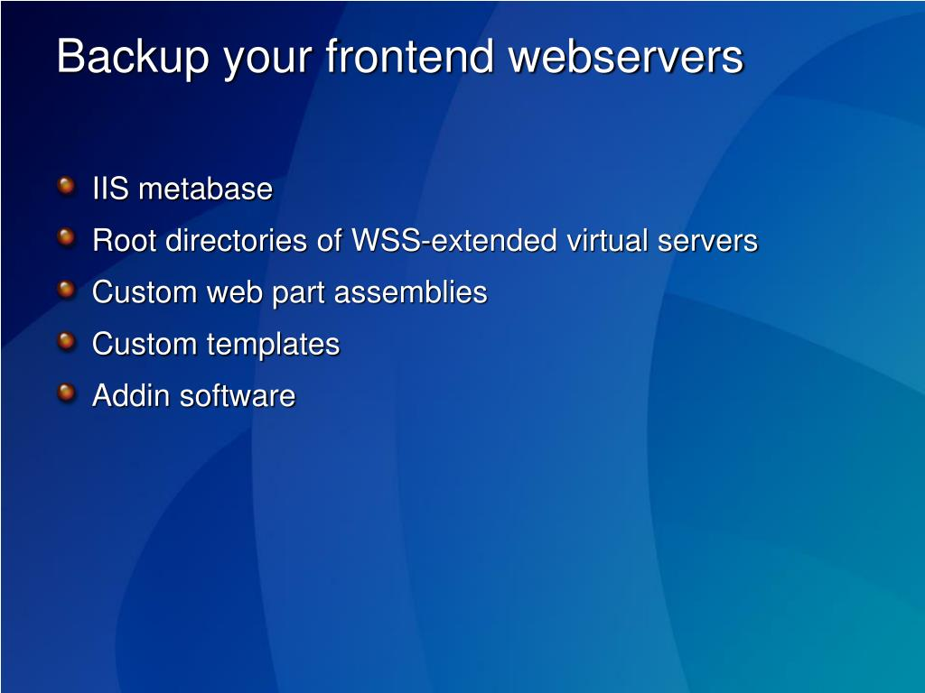 Backup your frontend webservers