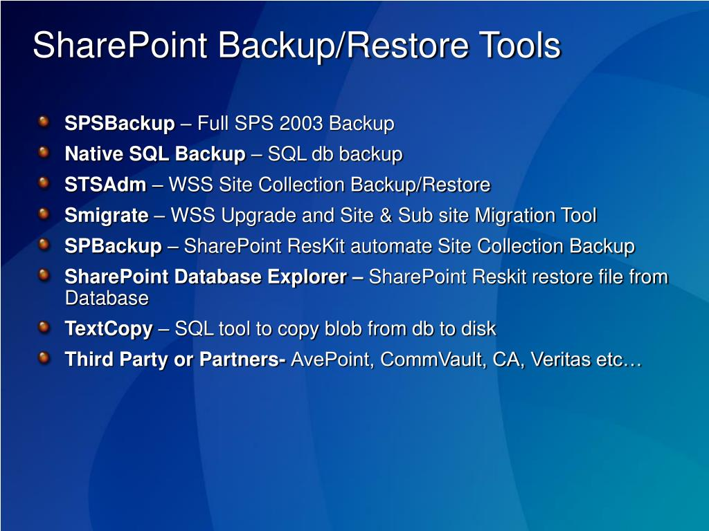 SharePoint Backup/Restore Tools