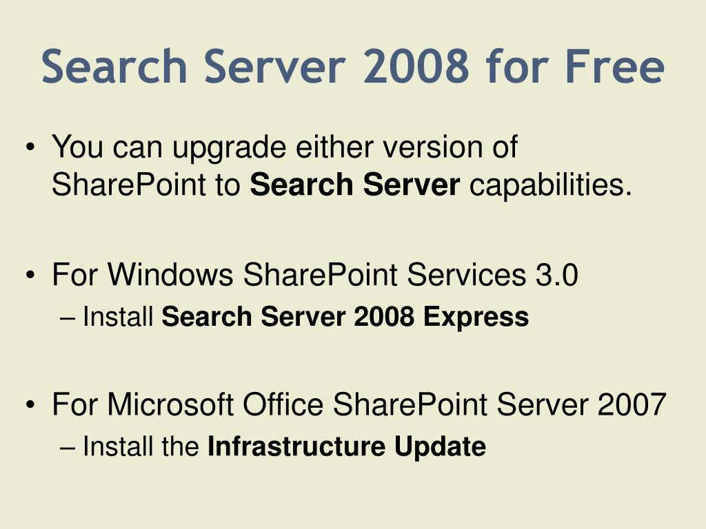 Search Server 2008 for Free