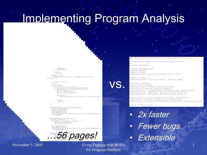 Implementing program analysis