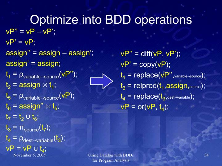 Optimize into BDD operations