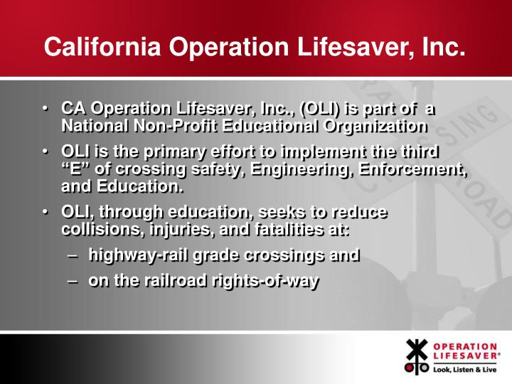 California Operation Lifesaver, Inc.
