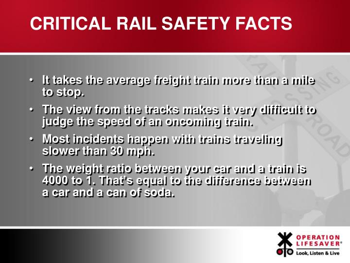 CRITICAL RAIL SAFETY FACTS