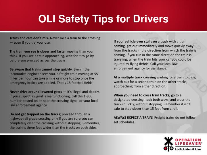 OLI Safety Tips for Drivers