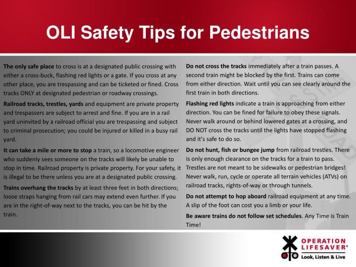OLI Safety Tips for Pedestrians