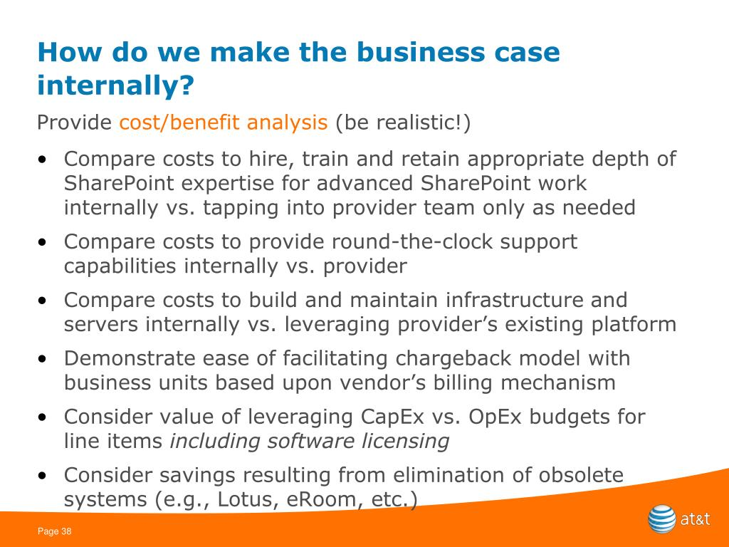 How do we make the business case internally?