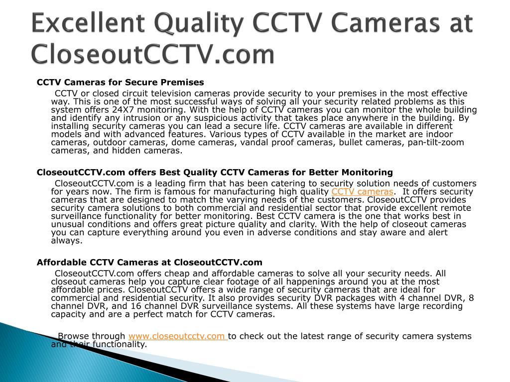 excellent quality cctv cameras at closeoutcctv com l.