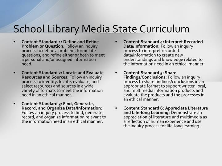 School Library Media State Curriculum