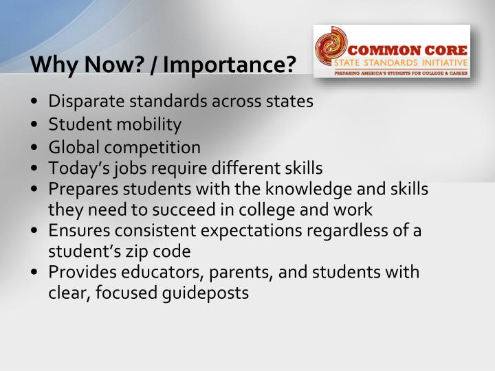 Why now importance