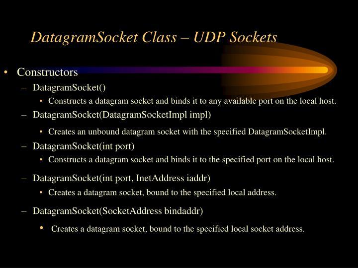 DatagramSocket Class – UDP Sockets