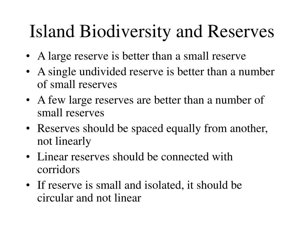 Island Biodiversity and Reserves