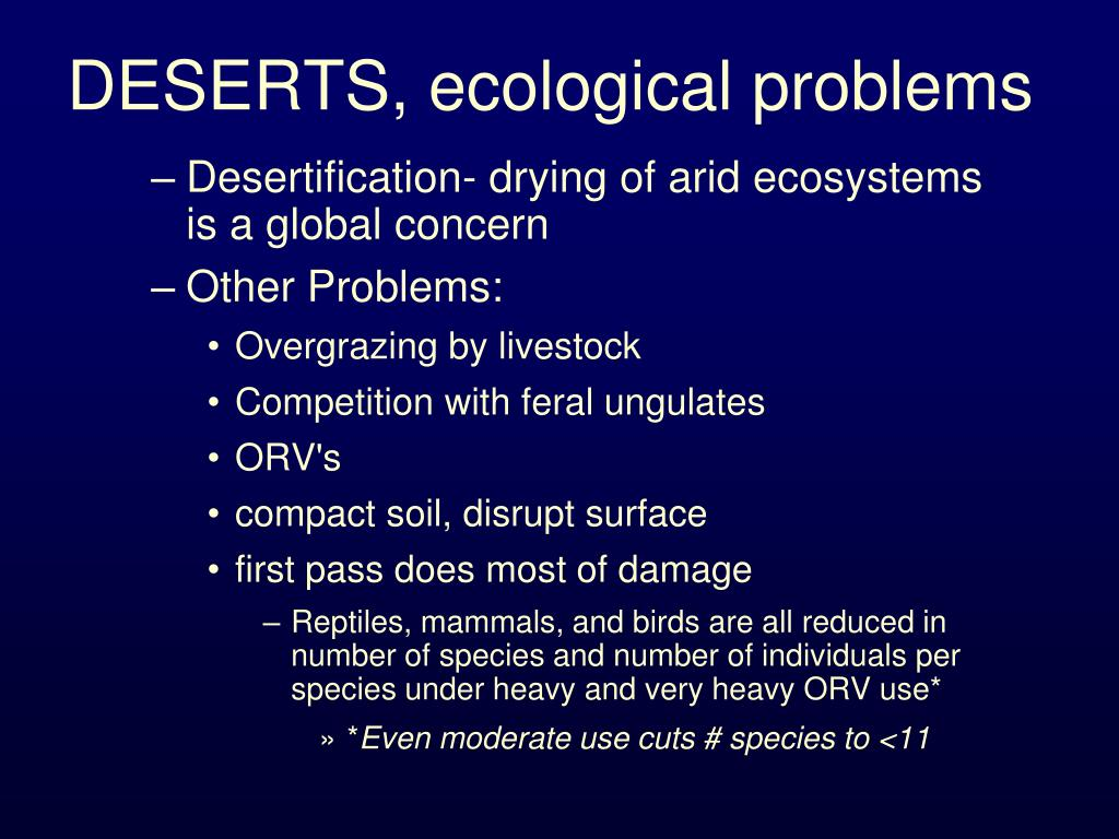 DESERTS, ecological problems