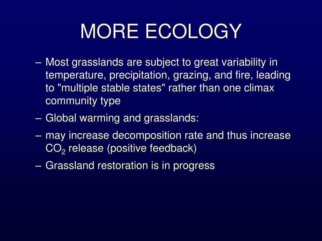 MORE ECOLOGY