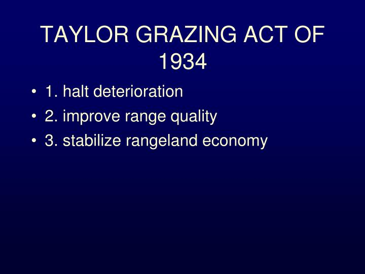 Taylor grazing act of 1934