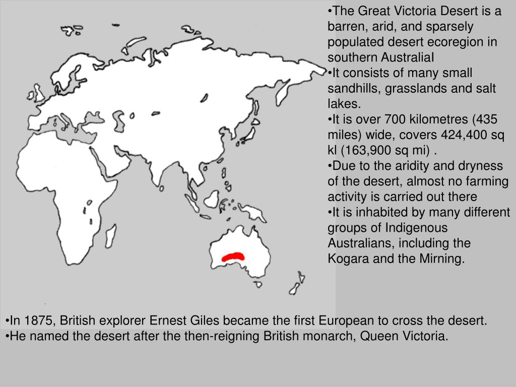 The Great Victoria Desert is a barren, arid, and sparsely populated desert ecoregion in southern AustraliaI