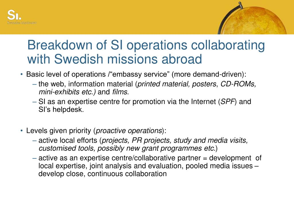 Breakdown of SI operations collaborating with Swedish missions abroad