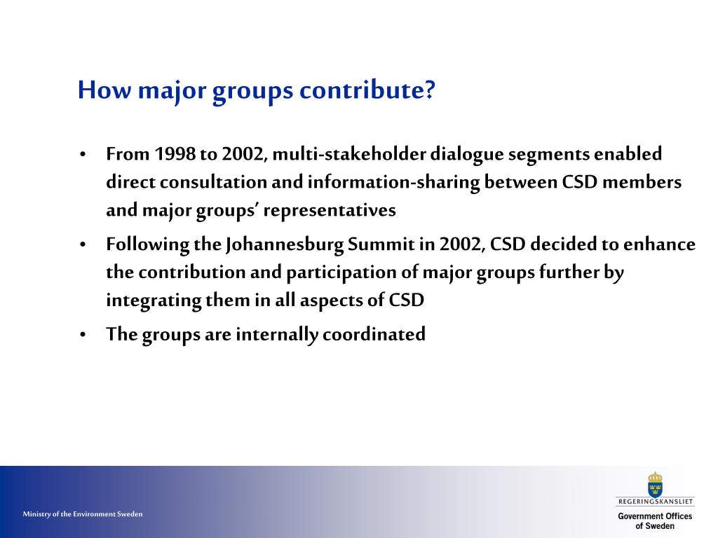 How major groups contribute?