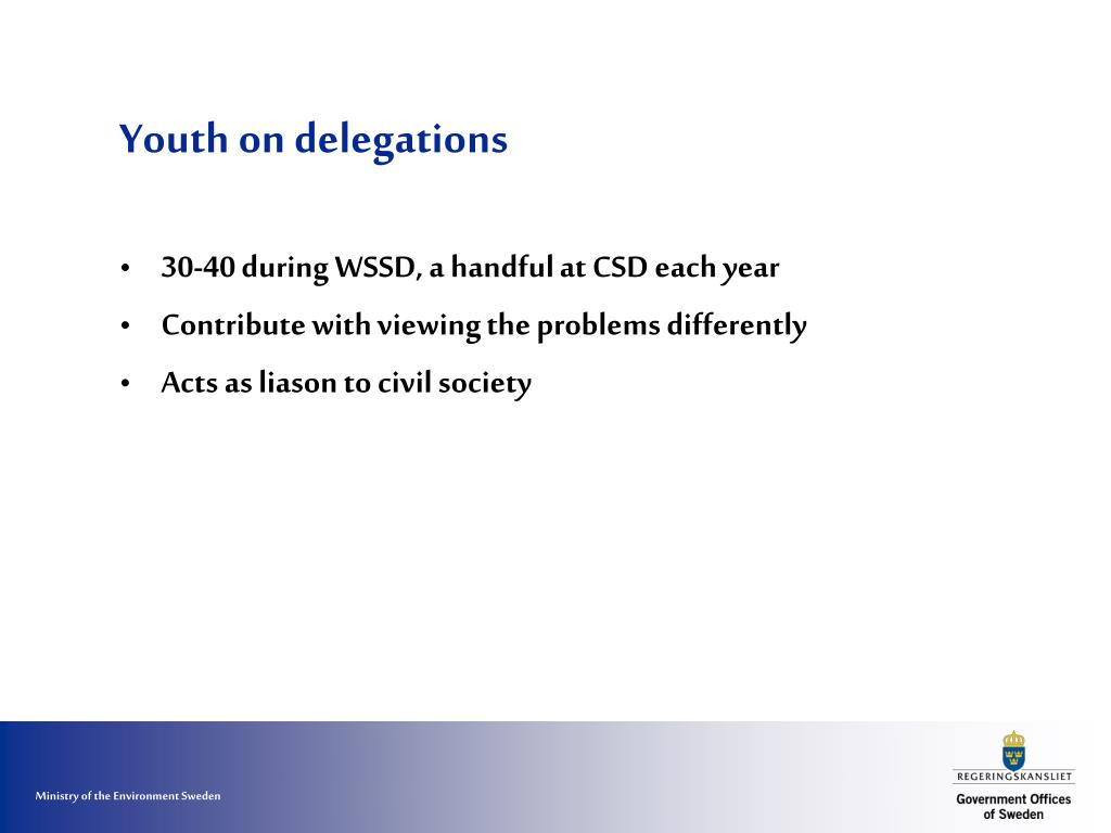 Youth on delegations