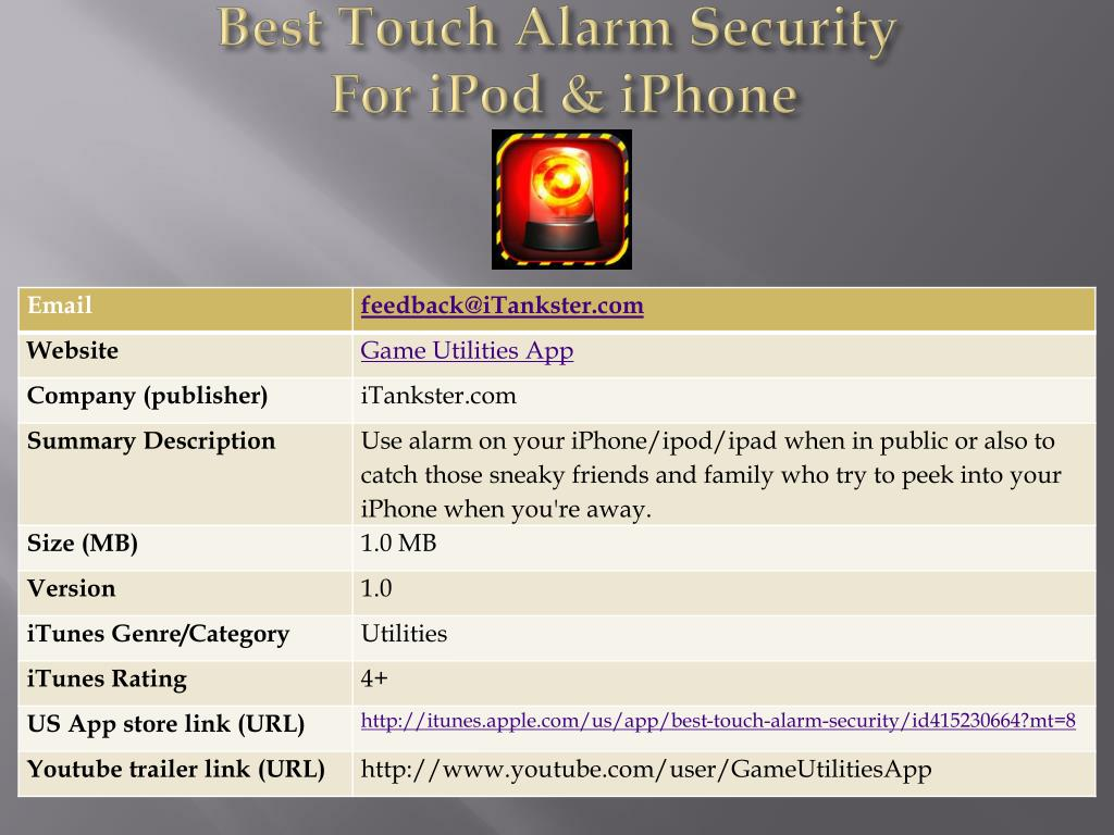 best touch alarm security for ipod iphone