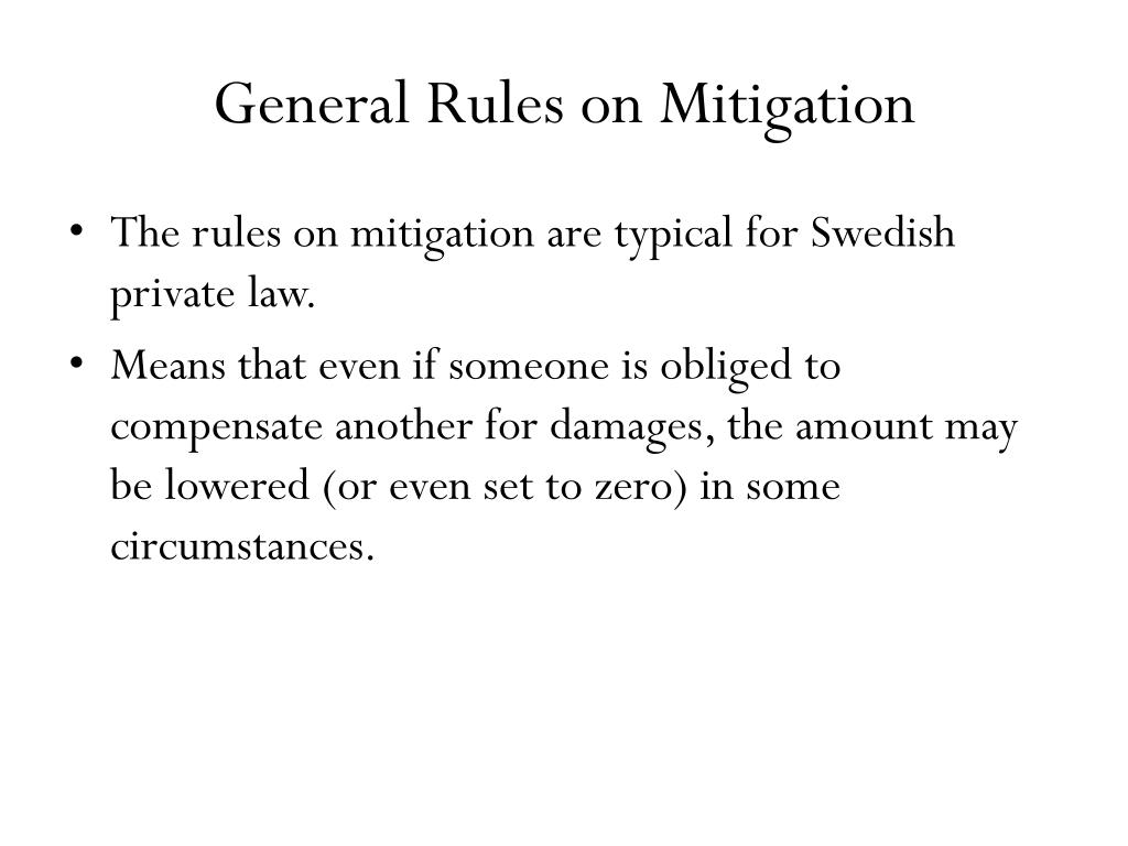General Rules on Mitigation