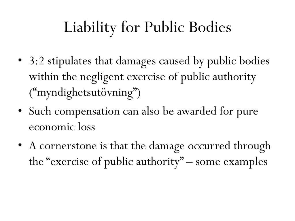 Liability for Public Bodies
