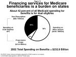 about 42 percent of all medicaid spending for benefits is for dual eligibles