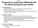 proposals to restructure medicaid will be raised during the year ahead