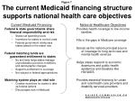 the current medicaid financing structure supports national health care objectives