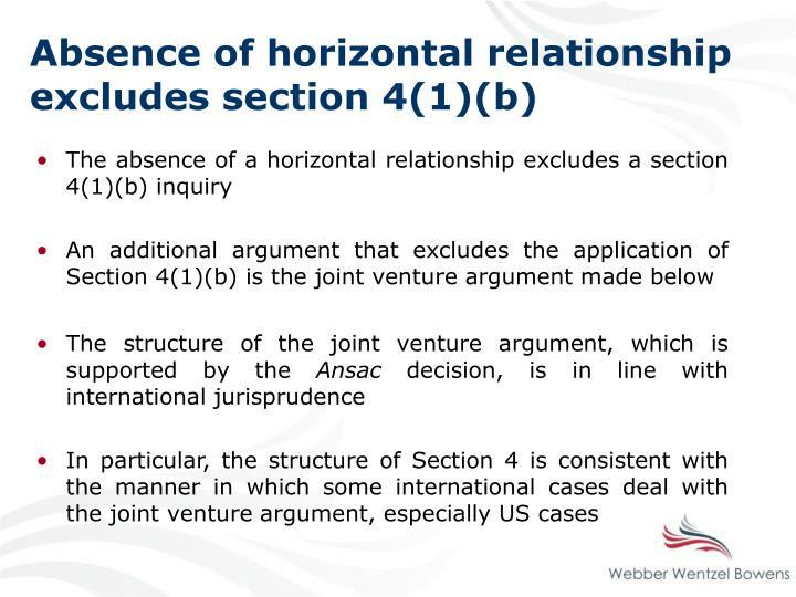 Absence of horizontal relationship excludes section 4(1)(b)