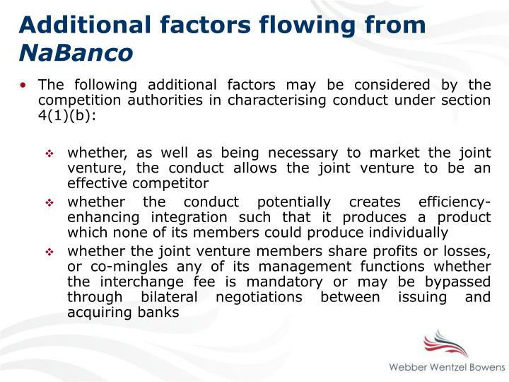 Additional factors flowing from