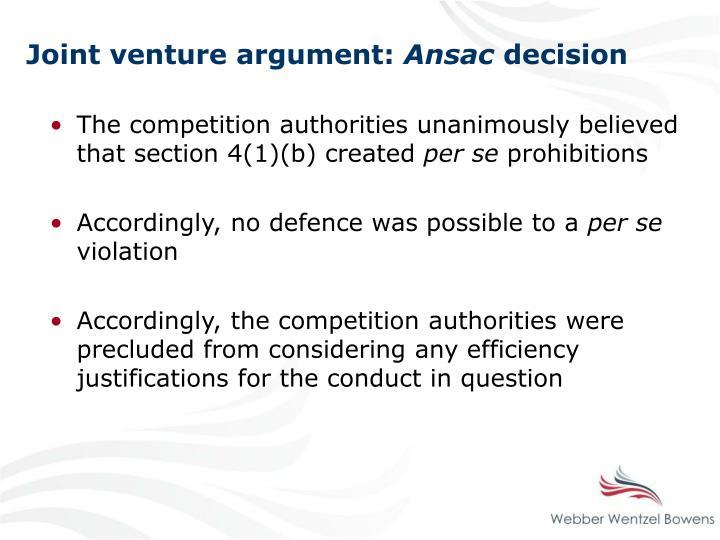 Joint venture argument: