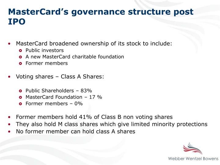 MasterCard's governance structure post IPO