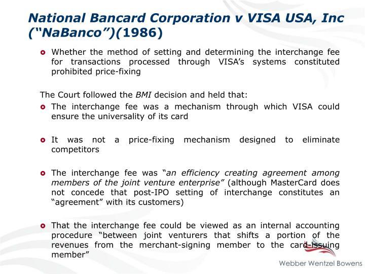 """National Bancard Corporation v VISA USA, Inc (""""NaBanco"""")("""